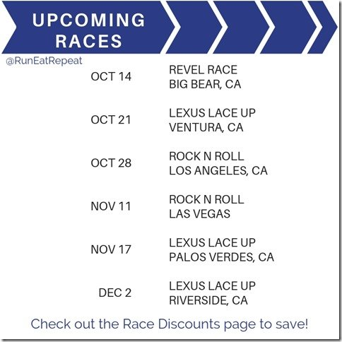 The upcoming race and discount codes Las Vegas LA Rock N Roll Lace Up Revel marathon 5k 10k (1)