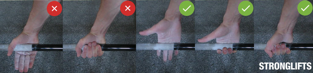 Proper Deadlift grip: gripping the bar mid-palm vs. close to fingers.