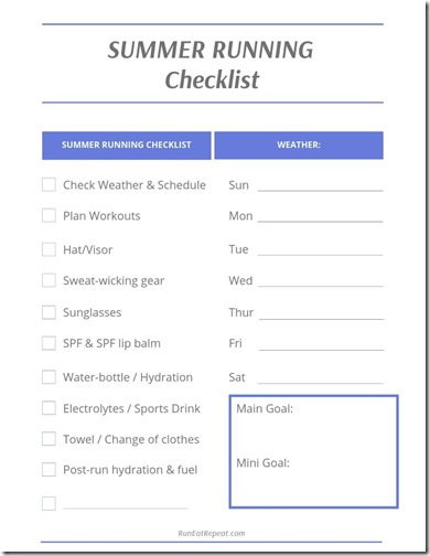 Summer Running Checklist and Scheduler