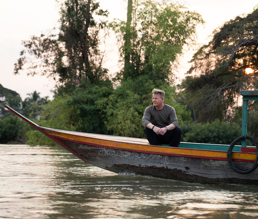 Ramsay walks down the river in his new show Nat Geo,