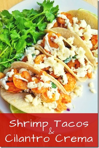 Shrimp and cilantro tacos