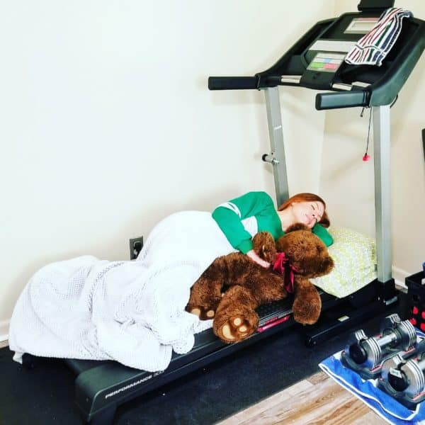 sleeping on a treadmill RunEatRepeat.com
